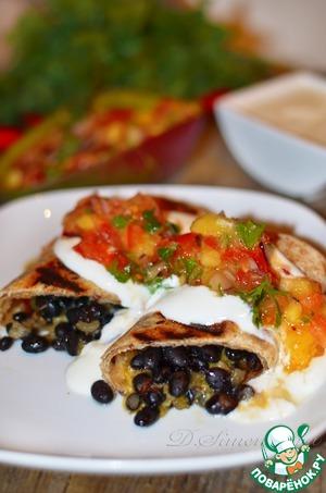 Рецепт Буррито с черной фасолью и сальсой из манго