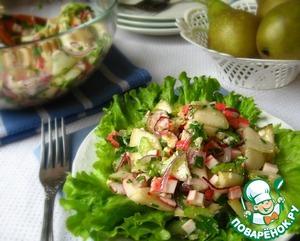 Рецепт Салат с крабовыми палочками, грушей и орехами