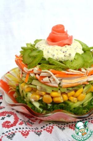 Рецепт Легкий крабовый салат с сельдереем и авокадо