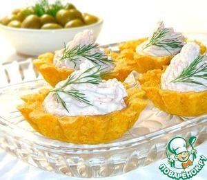 Рецепт Кукурузные тарталетки с паштетом из крабовых палочек