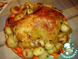 Рецепт Запеченная курица с лимоном, чесноком и картофелем