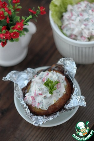 Рецепт Печеный картофель с крабовым соусом