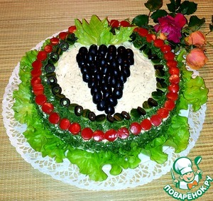 Рецепт Закусочный торт с крабовыми палочками и креветками