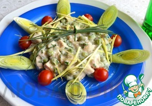Рецепт Салат с курицей, сыром и зелёным горошком