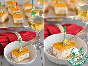 Рецепт Закусочный крабовый чиз с морковно-творожными коржами