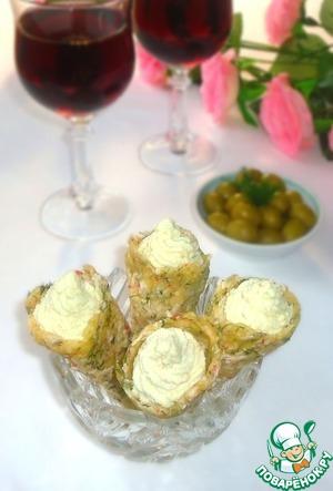 Рецепт Сырно-крабовые рожки с яичным паштетом