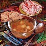 Овощной суп с крабовыми клецками