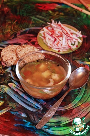 Рецепт Овощной суп с крабовыми клецками и салат из маринованных крабовых палочек с красным луком