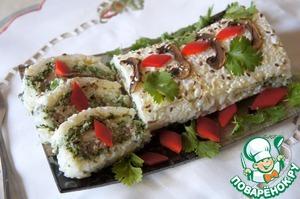 Рецепт Рисовый рулет со шпинатом и грибами