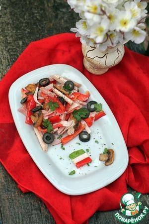 Рецепт Легкий салат с грибами и крабовыми палочками