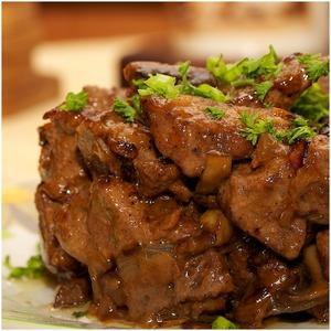 Рецепт Печень с грибами и луком