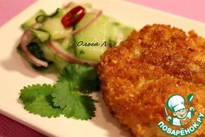 Рецепт Куриные нагетсы в кокосовой панировке с острым огуречным салатом