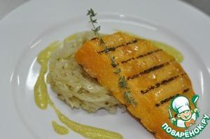 Рецепт Стейк из тыквы с тушеной капустой и соусом карри