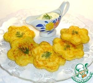 Рецепт Кукурузные оладьи с крабовыми палочками + сырный соус