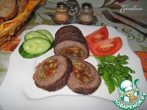 Рецепт Мясной рулет с вялеными томатами и стручковой фасолью