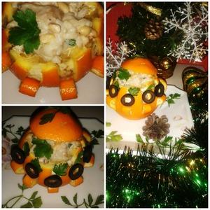 Рецепт Нарядный апельсин с начинкой из кедровых орешков, риса и грибов