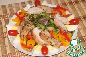 Рецепт Теплый салат с запеченой курочкой и болгарским перцем