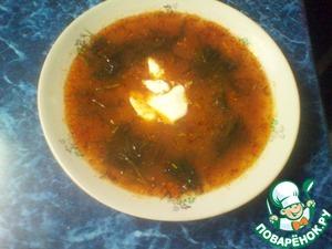 Рецепт Кислый борщ с грибами и фасолью