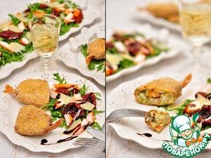 Рецепт Антипасти: польпетте из крабовых палочек, пармезана, цуккини с сюрпризом + салат с рукколой, крабовыми палочками и вялеными томатами