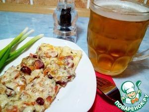 Рецепт Сырная закуска с колбасками на чесночном соусе