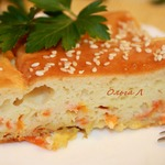 Наливной пирог с квашеной капустой