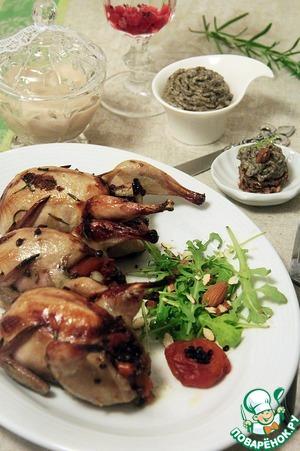 Рецепт Фаршированные перепела с соусом из чечевицы и грибов