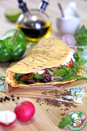 Рецепт Тако с фасолевым гуакамоле и салатом