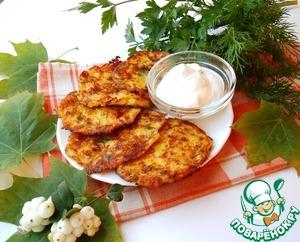 Рецепт Пикантные тыквенные оладьи с сыром