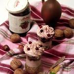 Каштаново-ореховый десерт с брусничным кремом