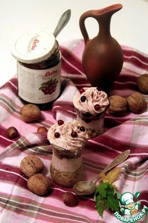 Рецепт Каштаново-ореховый десерт с брусничным кремом