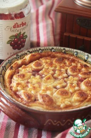 """Рецепт Пирог """"Творожный с брусникой, бананом и шоколадом"""""""