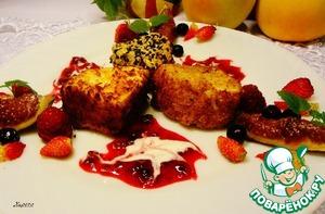 Рецепт Жареный камамбер с брусничным соусом и свежими ягодами