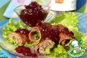 Рецепт Диетические блинчики из отрубей с печенью и клюквенным соусом от D'arbo