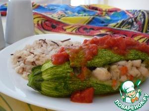 Рецепт Кабачок, фаршированный курицей с овощами
