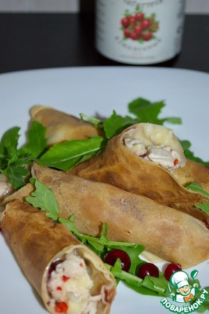 Рецепт Блины с курицей и сыром бри