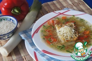 Простой рецепт приготовления с фотографиями Суп из лука-порея с запеченым рисом
