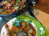 Индюшачьи сердечки с фасолью и осенними овощами (свежими и маринованными) в тажине ингредиенты