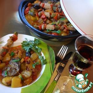 Рецепт Индюшачьи сердечки с фасолью и осенними овощами (свежими и маринованными) в тажине