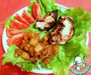 Рецепт Куриное филе, маринованное в ананасе