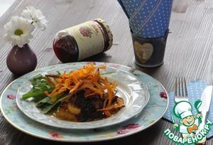 Рецепт Фуа-Гра с бруснично-малиновым соусом, печеным яблоком и бататом