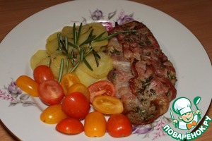 Рецепт И снова не много не оригинально... но... Рыба в беконе с овощами