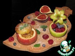 Рецепт Печеные яблоки с сухофруктами и кедровыми орешками