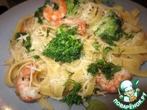Рецепт Паста с креветками и брокколи