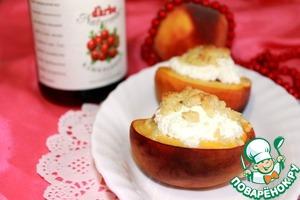 Рецепт Персики, запеченые с клюквенным соусом, козьим сыром и с ароматным штрейзелем