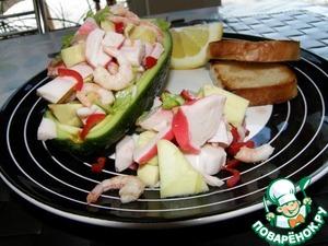 Рецепт Авокадо, начиненное салатом с крабовым мясом и чили