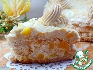 Рецепт Кофейный торт с персиками и миндалем