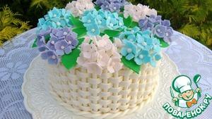Торт корзина с цветами кулинарный
