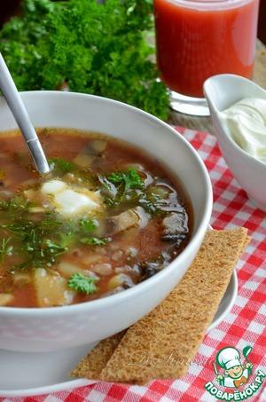 Рецепт Томатный суп с красным рисом и шампиньонами