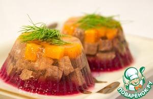Рецепт Заливное из говядины с клюквенной прослойкой