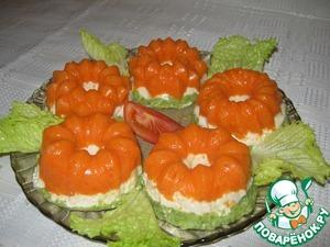 Рецепт Диетическое желе с брокколи, морковью и куриным филе